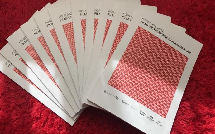 Foto på förstudien som ligger i flera tryckta exemplar på en röd matta